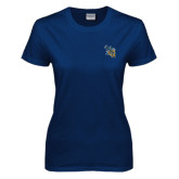 Ladies Navy T Shirt-CU with Yellow Jacket