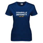 Ladies Navy T Shirt-Cedarville University EST. 1887