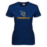 Ladies Navy T Shirt-CU Cedarville with Yellow Jacket