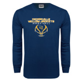 Navy Long Sleeve T Shirt-Basketball Stacked Design