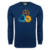 Navy Long Sleeve T Shirt-Peace, Love, and Volleyball Design