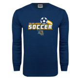 Navy Long Sleeve T Shirt-Soccer Swoosh Design