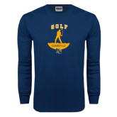 Navy Long Sleeve T Shirt-Golf Golfer Design