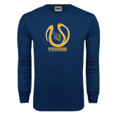 Navy Long Sleeve T Shirt-Tennis Ball Design