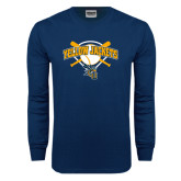 Navy Long Sleeve T Shirt-Softball Bats and Plate Design