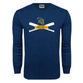 Navy Long Sleeve T Shirt-Baseball Bats Design