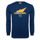Navy Long Sleeve T Shirt-Track and Field Side Shoe Design