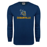 Navy Long Sleeve T Shirt-CU Cedarville with Yellow Jacket