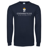 Navy Long Sleeve T Shirt-Cedarville University