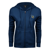 ENZA Ladies Navy Fleece Full Zip Hoodie-CU with Yellow Jacket