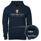 Contemporary Sofspun Navy Heather Hoodie-Cedarville University