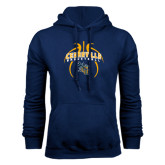 Navy Fleece Hoodie-Basketball In Ball Design