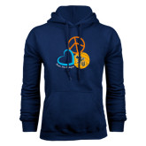 Navy Fleece Hoodie-Peace, Love, and Volleyball Design