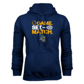 Navy Fleece Hoodie-Game Set Match Tennis Design