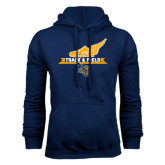 Navy Fleece Hoodie-Track and Field Side Shoe Design