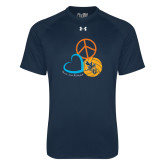 Under Armour Navy Tech Tee-Peace, Love, and Volleyball Design