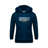 Youth Navy Fleece Hoodie-Cedarville University EST. 1887
