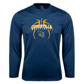 Performance Navy Longsleeve Shirt-Basketball In Ball Design