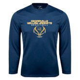 Syntrel Performance Navy Longsleeve Shirt-Basketball Stacked Design