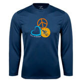 Performance Navy Longsleeve Shirt-Peace, Love, and Volleyball Design