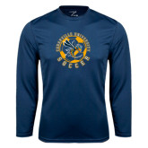 Performance Navy Longsleeve Shirt-Soccer Circle Design