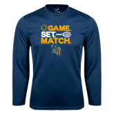 Performance Navy Longsleeve Shirt-Game Set Match Tennis Design