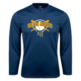 Performance Navy Longsleeve Shirt-Softball Bats and Plate Design