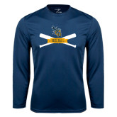 Performance Navy Longsleeve Shirt-Baseball Bats Design