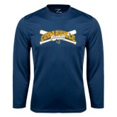 Performance Navy Longsleeve Shirt-Baseball Design