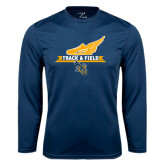 Performance Navy Longsleeve Shirt-Track and Field Side Shoe Design