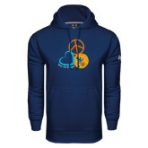 Under Armour Navy Performance Sweats Team Hoodie-Peace, Love, and Volleyball Design