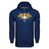 Under Armour Navy Performance Sweats Team Hoodie-Softball Bats and Plate Design