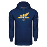 Under Armour Navy Performance Sweats Team Hood-Track and Field Side Shoe Design