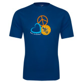 Performance Navy Tee-Peace, Love, and Volleyball Design