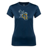 Ladies Syntrel Performance Navy Tee-CU with Yellow Jacket