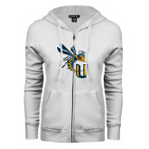 ENZA Ladies White Fleece Full Zip Hoodie-CU with Yellow Jacket