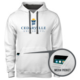 Contemporary Sofspun White Hoodie-Cedarville University