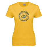 Ladies Gold T Shirt-Cedarville University Seal