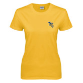 Ladies Gold T Shirt-CU with Yellow Jacket