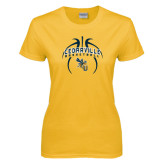 Ladies Gold T Shirt-Basketball In Ball Design