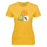 Ladies Gold T Shirt-Peace, Love, and Volleyball Design