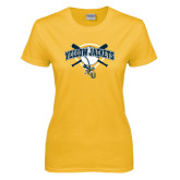 Ladies Gold T Shirt-Softball Bats and Plate Design