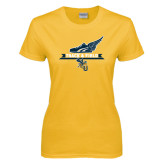 Ladies Gold T Shirt-Track and Field Side Shoe Design