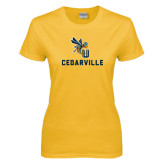 Ladies Gold T Shirt-CU Cedarville with Yellow Jacket