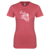 Next Level Ladies SoftStyle Junior Fitted Pink Tee-CU with Yellow Jacket