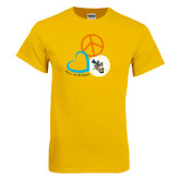Gold T Shirt-Peace, Love, and Volleyball Design