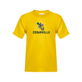 Youth Gold T Shirt-CU Cedarville with Yellow Jacket