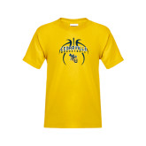 Youth Gold T Shirt-Basketball In Ball Design