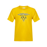 Youth Gold T Shirt-Basketball Stacked Design