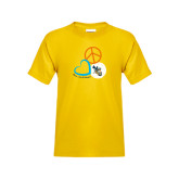 Youth Gold T Shirt-Peace, Love, and Volleyball Design